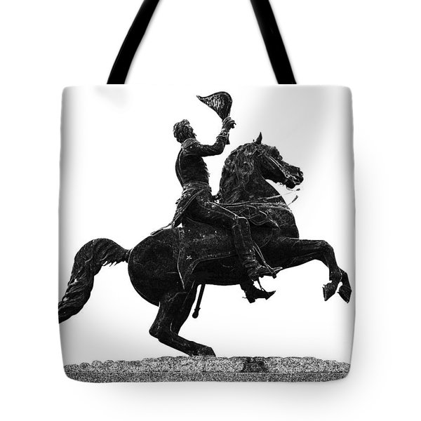 Andrew Jackson Statue Jackson Square French Quarter New Orleans Glowing Edges Digital Art Tote Bag by Shawn O'Brien
