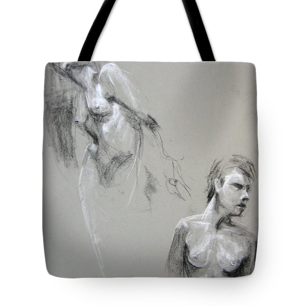Tote Bag featuring the drawing Andro Double by Gabrielle Wilson-Sealy