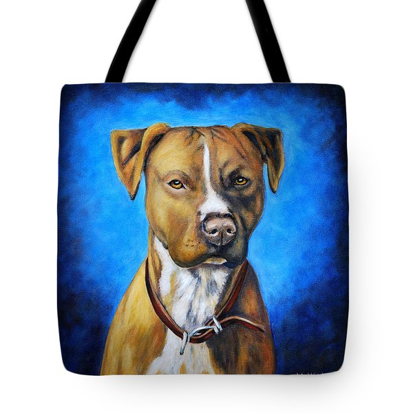 American Staffordshire Terrier Dog Painting Tote Bag