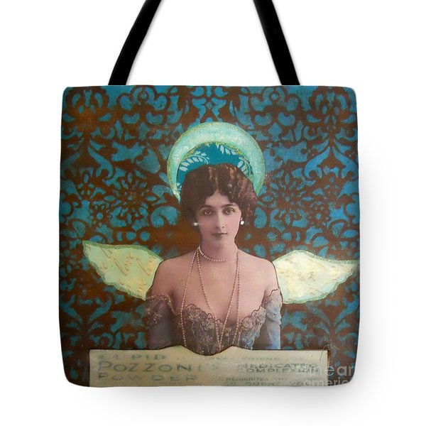 Angel In Blue Tote Bag by Desiree Paquette