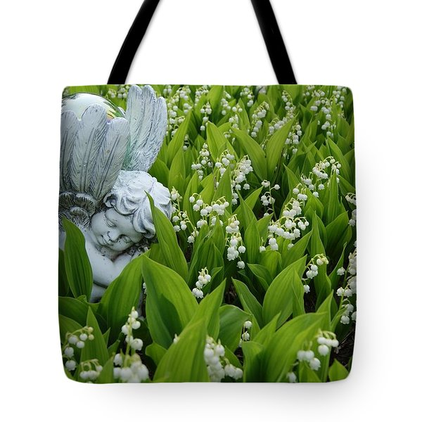 Angel In The Lilies Tote Bag by Steven Clipperton