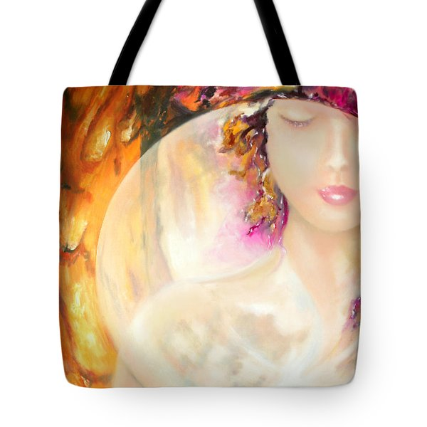 Tote Bag featuring the painting Angel Luna by Michael Rock