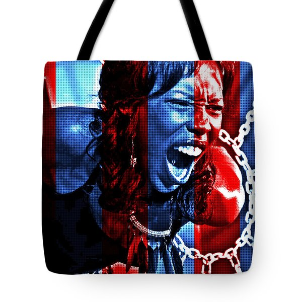 Tote Bag featuring the photograph Anger In Red And Blue by Alice Gipson