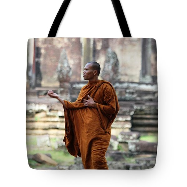 Tote Bag featuring the photograph Angkor Wat Monk by Nola Lee Kelsey