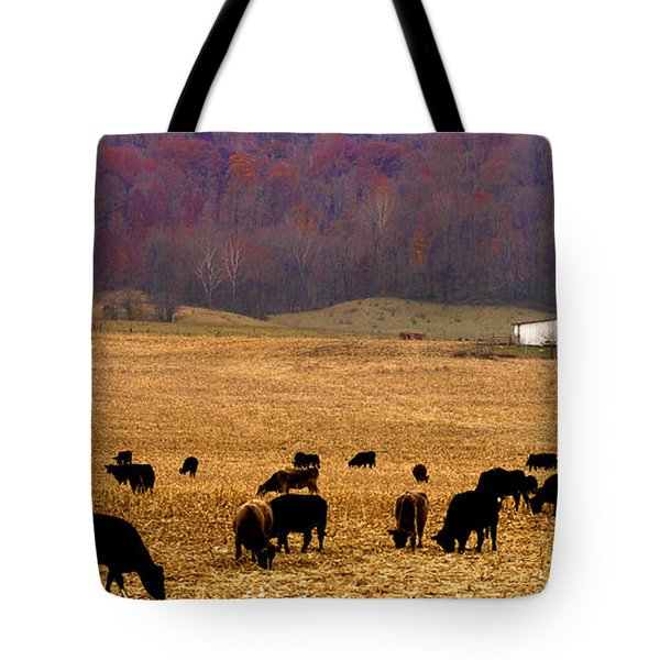 Tote Bag featuring the photograph Angus And Oaks  Farm by Randall Branham