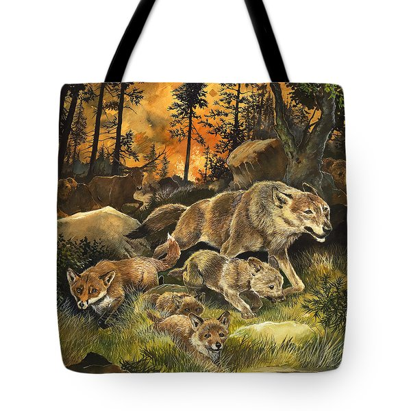 Animals United In Terror As They Flee From A Forest Fire Tote Bag by G W Backhouse