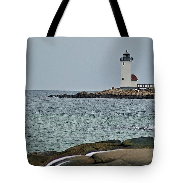 Annisquam Lighthouse Tote Bag by Joe Faherty