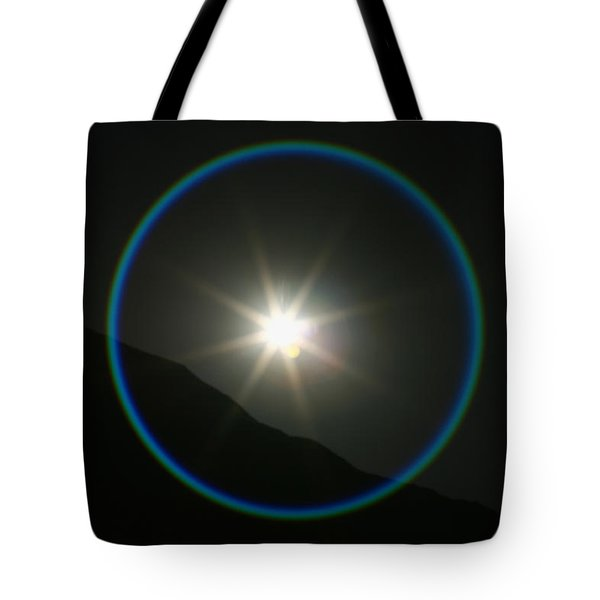 Tote Bag featuring the photograph Annular Solar Eclipse - Blue Ring At Vasquez Rocks by Lon Casler Bixby