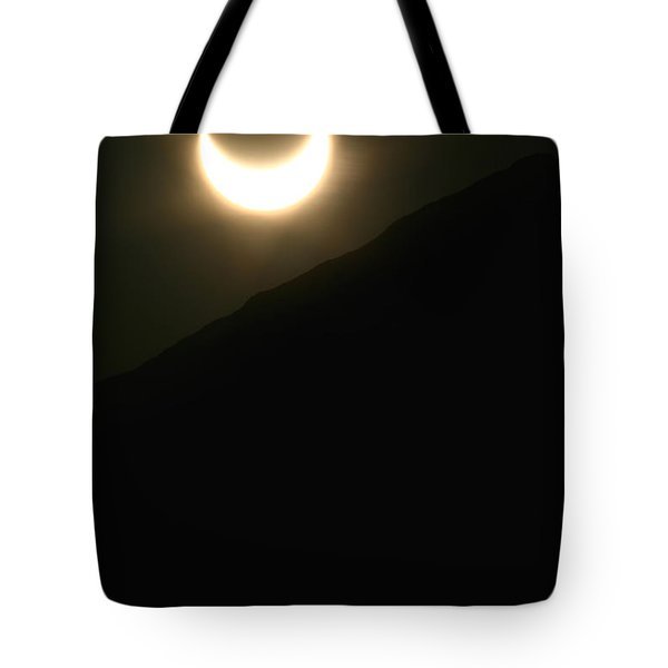 Tote Bag featuring the photograph Annular Solar Eclipse At Sunset Number 1 by Lon Casler Bixby