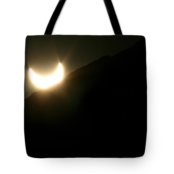 Tote Bag featuring the photograph Annular Solar Eclipse At Sunset Number 2 by Lon Casler Bixby
