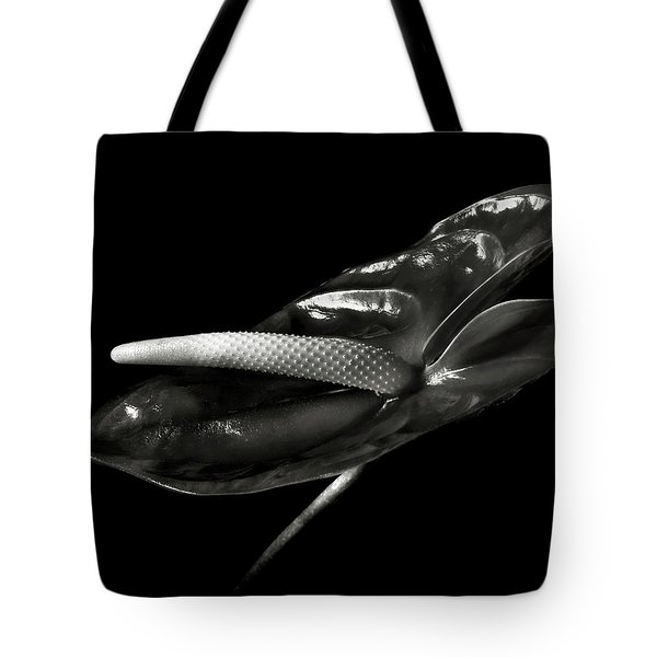 Anthurium In Black And White Tote Bag
