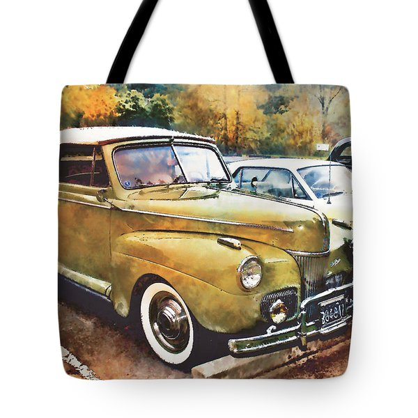 Tote Bag featuring the digital art Antique Car  by Mary Almond