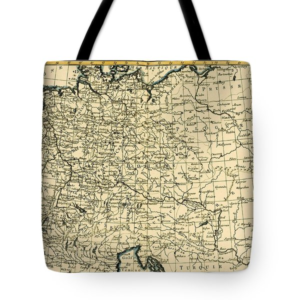 Antique Map Of Germany Bohemia And Hungary With Part Of Poland Tote Bag by Guillaume Raynal