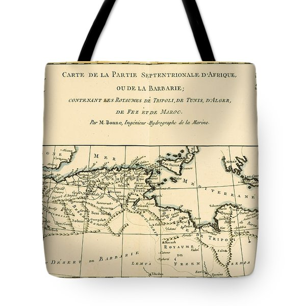 Antique Map Of North Africa Tote Bag by Guillaume Raynal