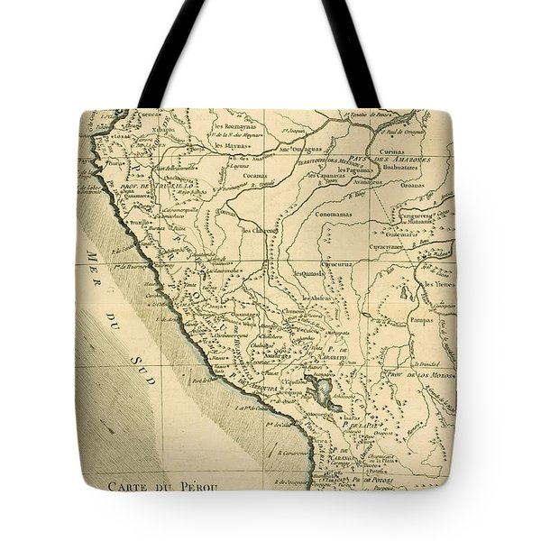 Antique Map Of Peru Tote Bag by Guillaume Raynal