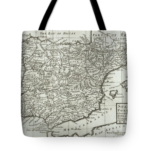 Antique Map Of Spain And Portugal Tote Bag by Hermann Moll