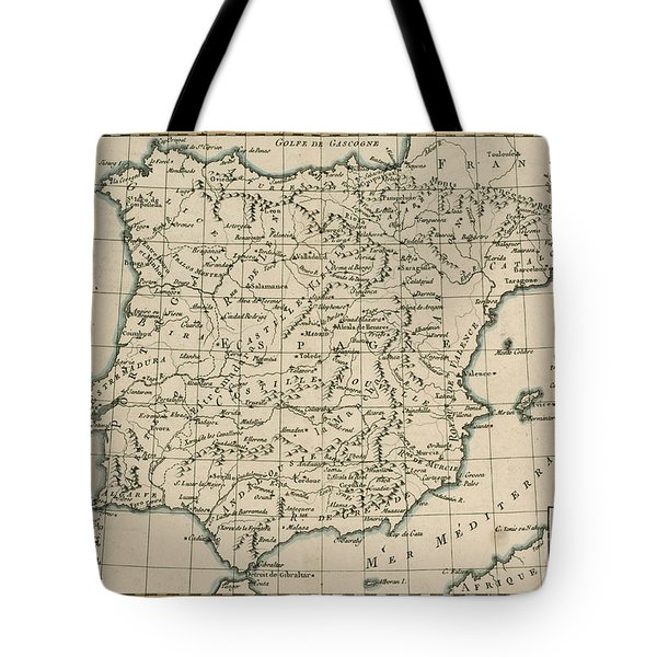 Antique Map Of Spain Tote Bag by Guillaume Raynal