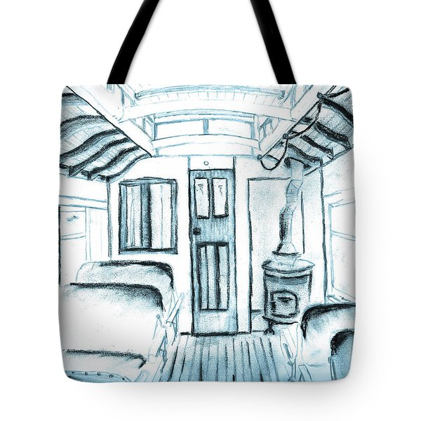 Tote Bag featuring the drawing Antique Passenger Car by Shannon Harrington