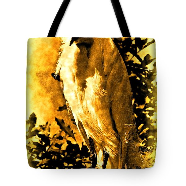 Antiqued Snowy Egret Tote Bag