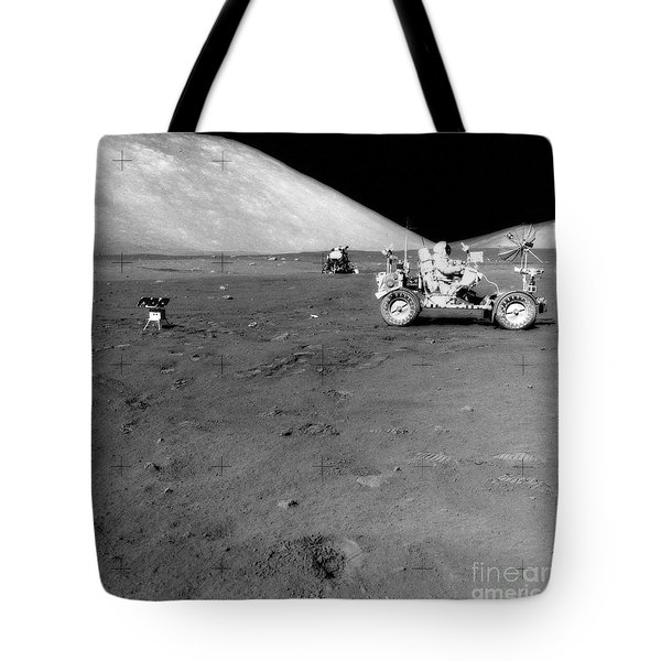 Apollo 17 Image Of Land Rover On Moon Tote Bag by Stocktrek Images