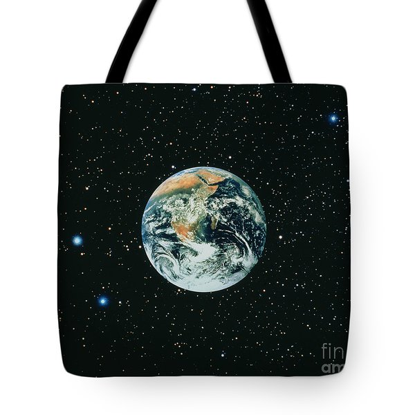 Apollo 17 View Of Earth With Starfield Tote Bag by NASA / Science Source
