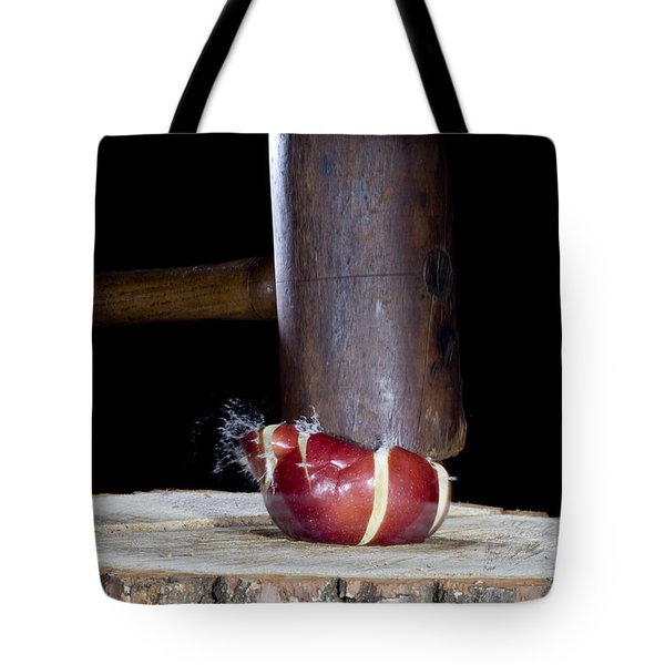 Apple Smashed With Mallet Tote Bag by Ted Kinsman