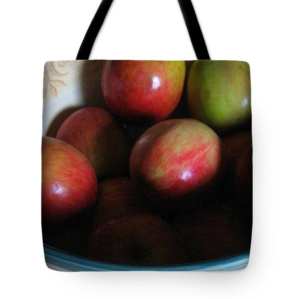 Apples In Ceramic Bowl Tote Bag
