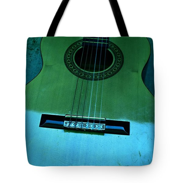 Aqua And Green Guitar Tote Bag