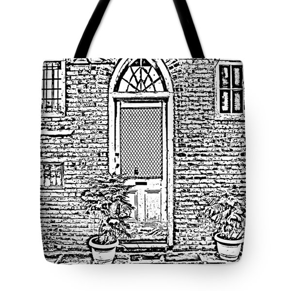Arched Doorway French Quarter New Orleans Photocopy Digital Art Tote Bag by Shawn O'Brien