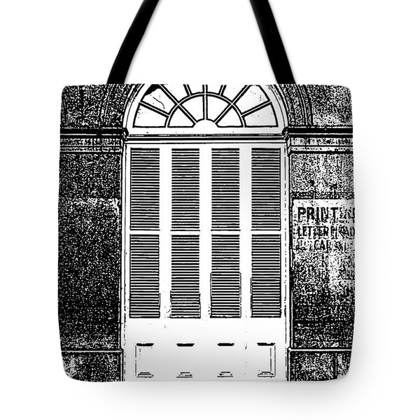Arched White Shuttered Window French Quarter New Orleans Photocopy Digital Art  Tote Bag by Shawn O'Brien