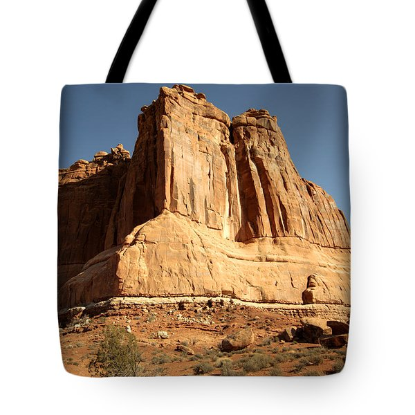 Arches N P The Courthouse Towers View Tote Bag by Paul Cannon
