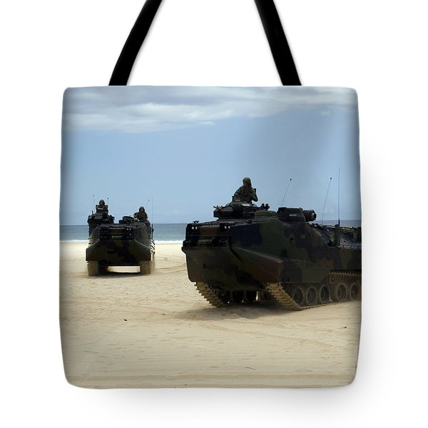 Armored Assault Vehicles Performing Tote Bag by Stocktrek Images
