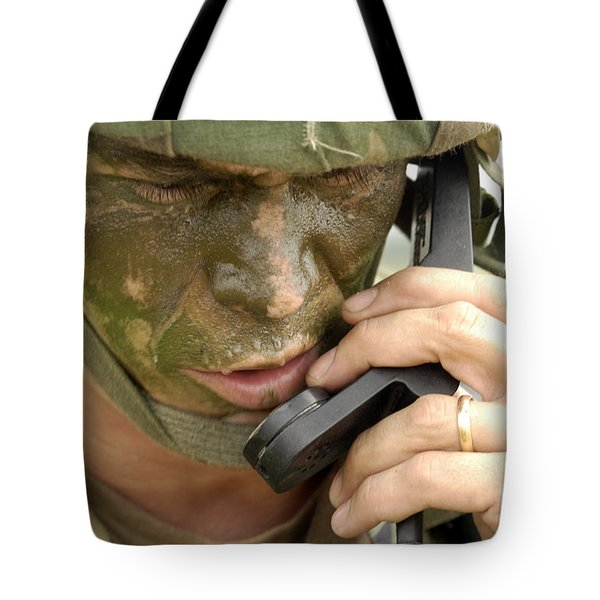 Army Master Sergeant Communicates Tote Bag by Stocktrek Images