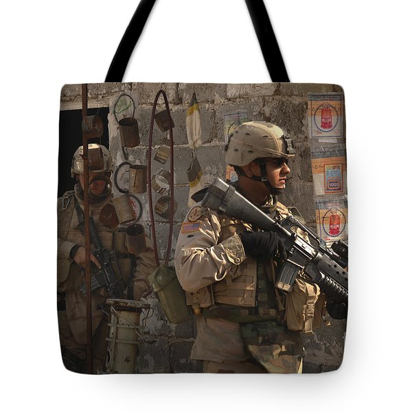 Army Soldiers Keeping An Eye Tote Bag by Stocktrek Images
