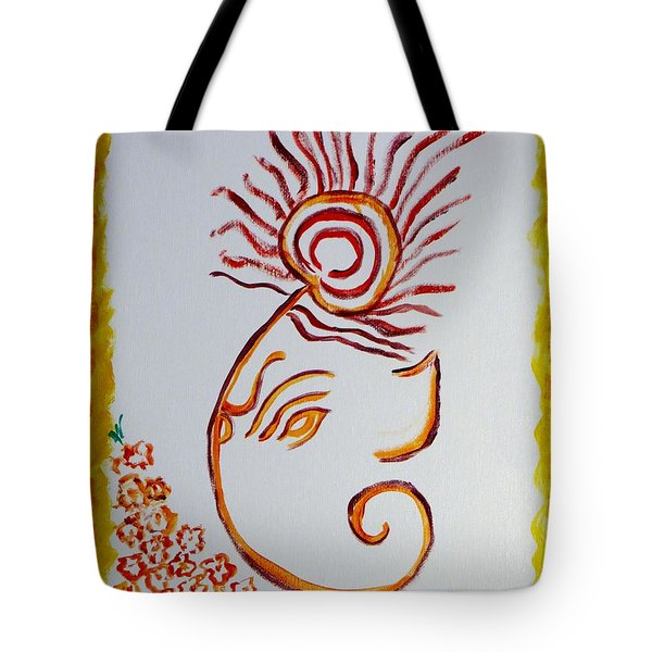 Tote Bag featuring the painting Artistic Lord Ganesha by Sonali Gangane