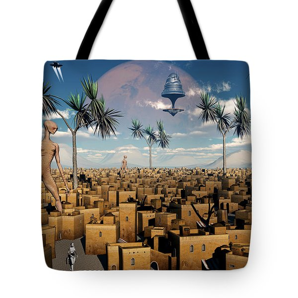 Artists Concept Of Aliens Visiting Tote Bag by Mark Stevenson
