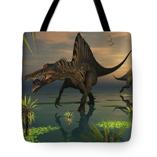 Artists Concept Of Spinosaurus Tote Bag by Mark Stevenson