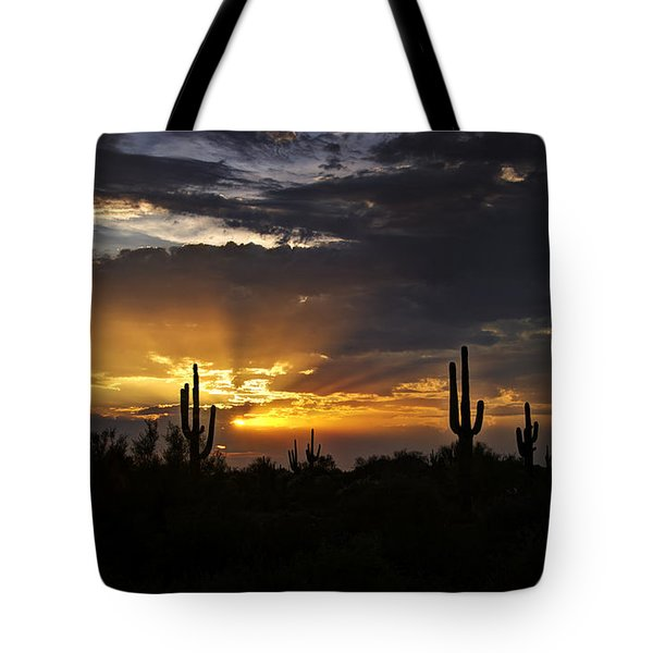 As The Sun Sets In The West  Tote Bag by Saija  Lehtonen
