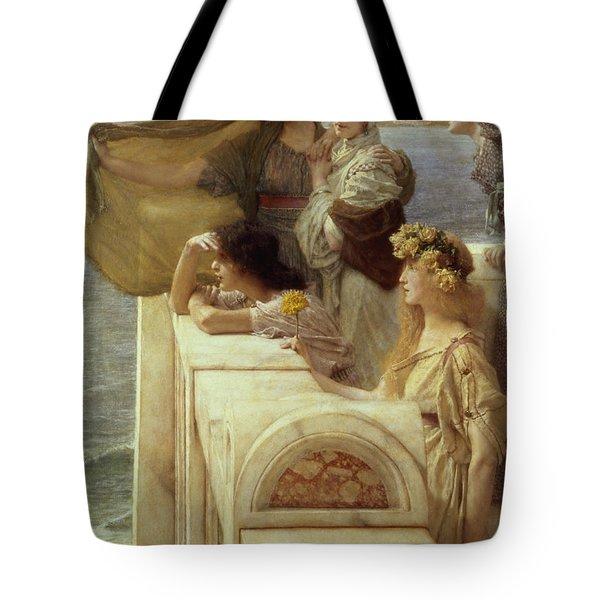 At Aphrodite's Cradle Tote Bag by Sir Lawrence Alma-Tadema