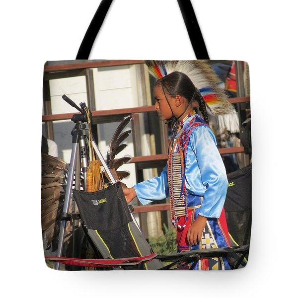 Tote Bag featuring the photograph At Blackfeet Pow Wow 03 by Ausra Huntington nee Paulauskaite