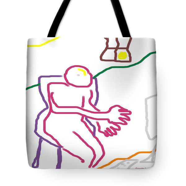 Tote Bag featuring the digital art At The Computer by George Pedro