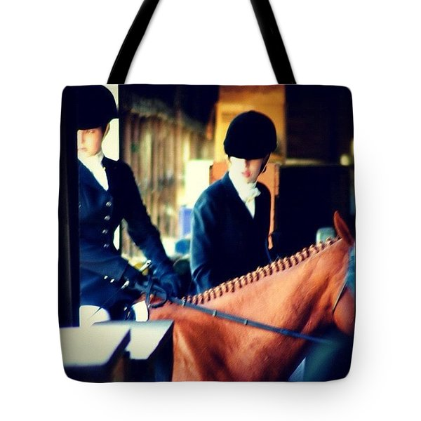 At The Gate, Arty #horses #dressage Tote Bag