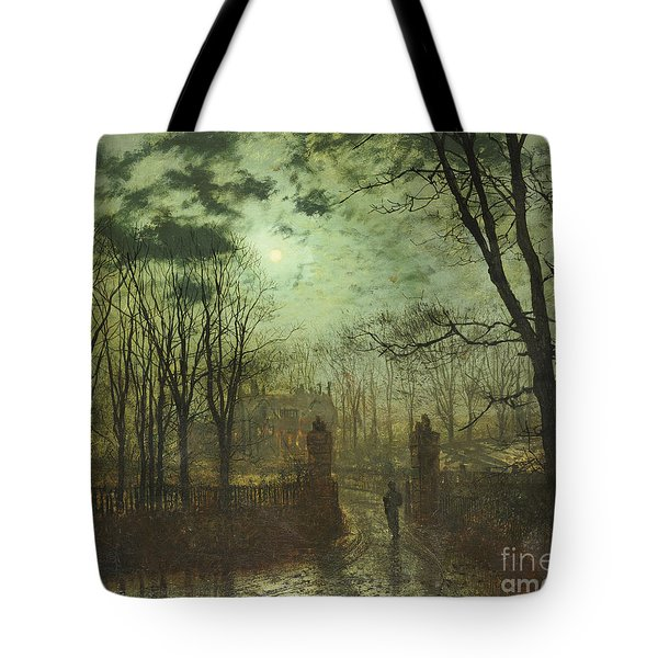 At The Park Gate Tote Bag by John Atkinson Grimshaw