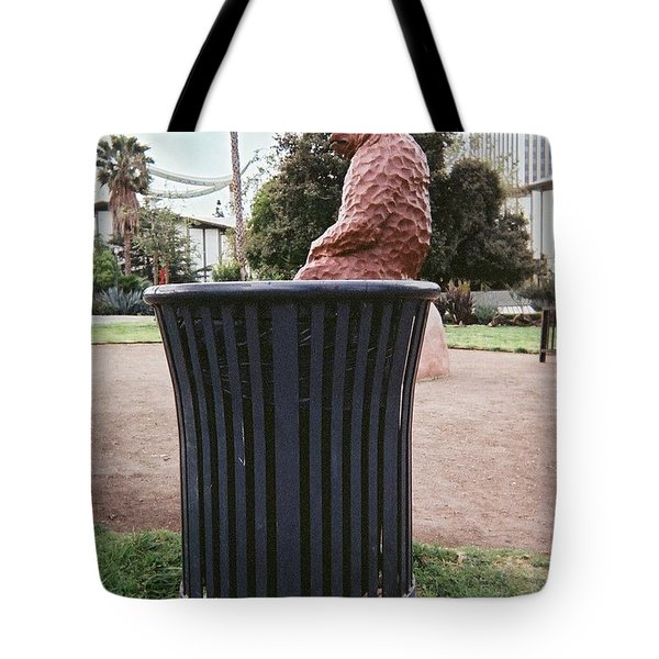Tote Bag featuring the pyrography At The Tar Pits by Lola Connelly
