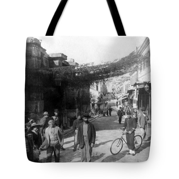 Athens Greece  C 1903 - Aeolos Street And The Stoa Of Hadrian Tote Bag by International  Images