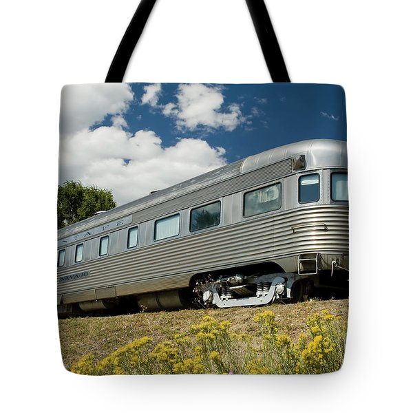 Atsf Train And Flowers Tote Bag by Tim Mulina