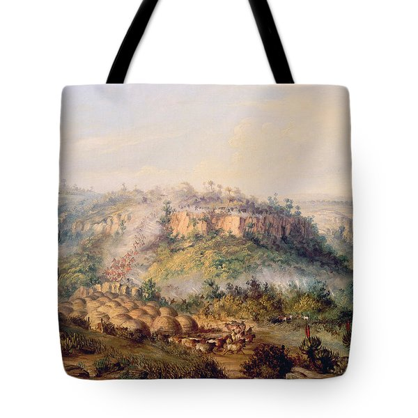 Attack On Stocks Kraall In The Fish River Bush Tote Bag by Thomas Baines