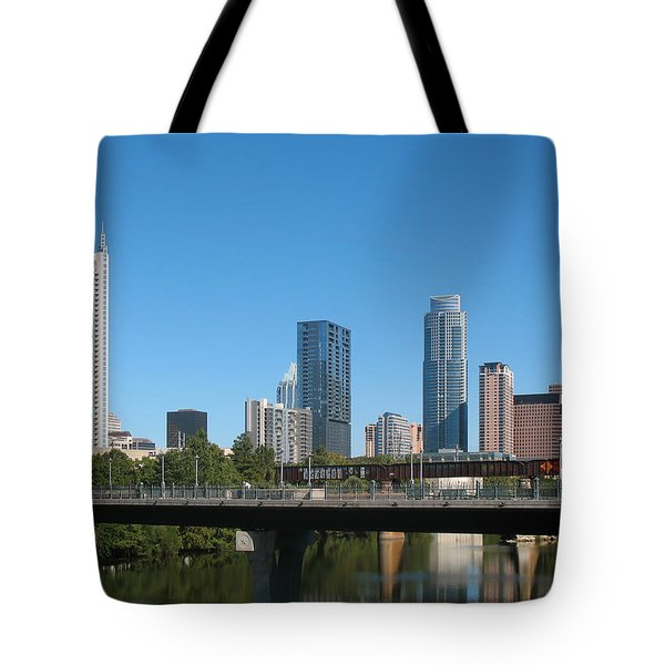 Tote Bag featuring the photograph Austin Texas 2012 Skyline And Water Reflections by Connie Fox
