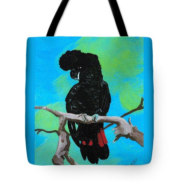 Australian Black Red Tailed Cockatoo Tote Bag