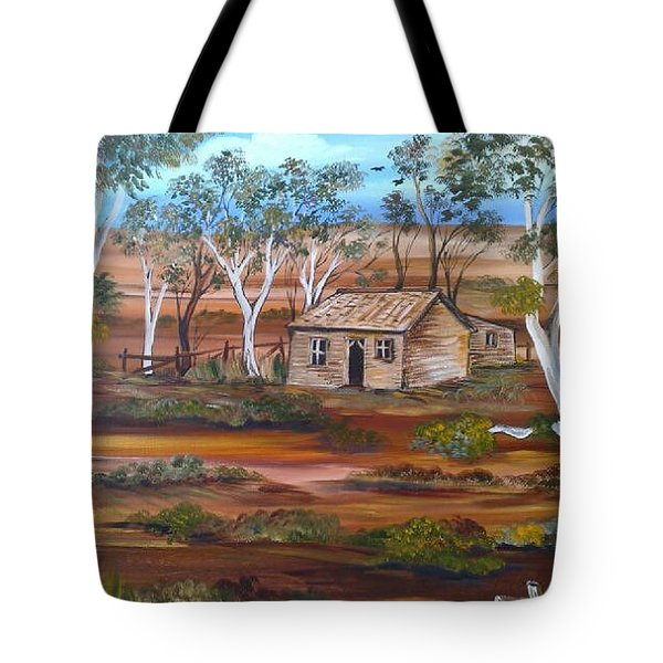Tote Bag featuring the painting Australian Outback Cabin by Roberto Gagliardi